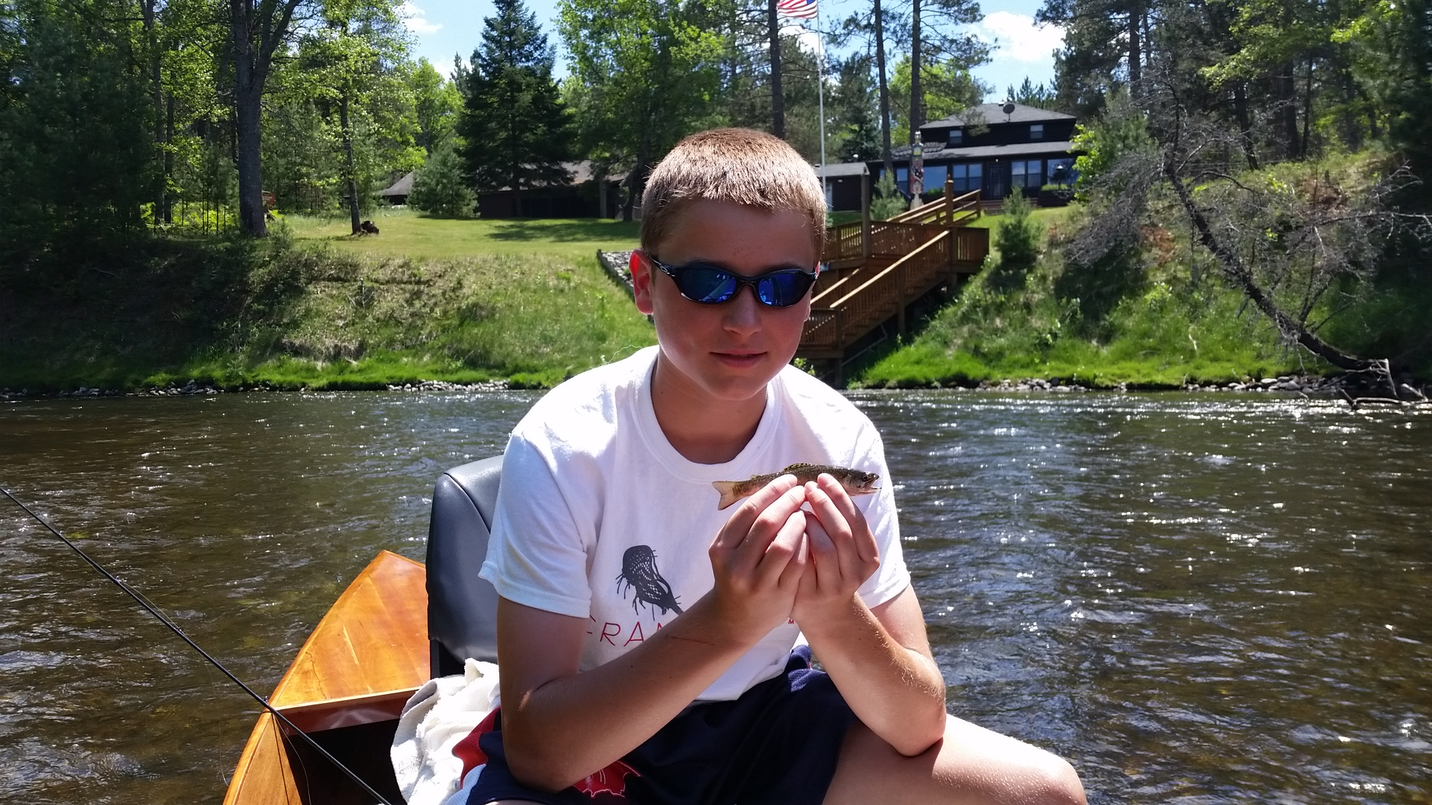 Charlie Thomson with his first trout ever! Caught while on a float with his father this past Saturday. Nice Brookie Charlie, way to go!